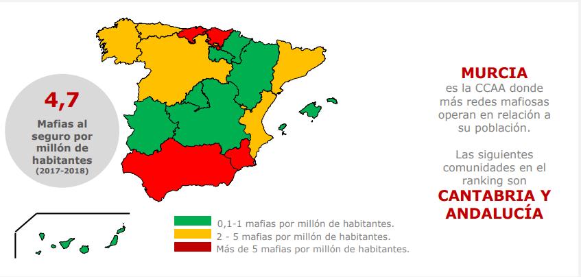 Mapa de fraudes a aseguradoras en España